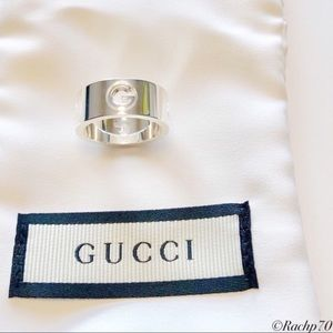 New Authentic Gucci G Logo Cut-Out Ring Size 6